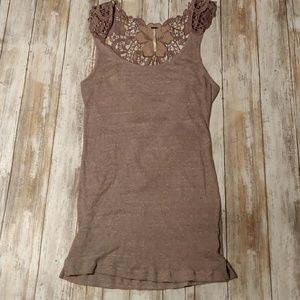 Free people ribbed tank with lace